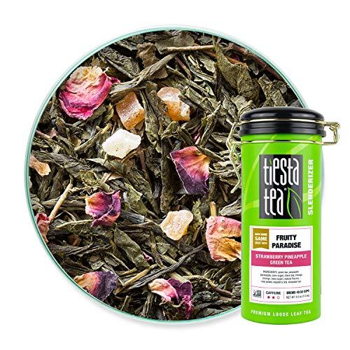 Tiesta Tea - Fruity Paradise, Loose Leaf Strawberry Pineapple Green Tea, Medium Caffeine, Hot & Iced Tea, 4 oz Tin - 50 Cups, Green Tea Loose Leaf