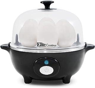 Elite Cuisine EGC-007B Easy Electric Egg Poacher, Omelet & Soft, Medium, Hard-Boiled Egg Cooker with Auto-Shut off and Buzzer, 7 Egg Capacity, Black