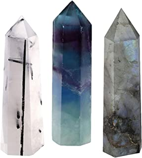 CrystalTears Set of 3 Natural Quartz Rutilated Labradorite Fluorite Crystal Self Standing Healing Crystal Point Faceted Pr...