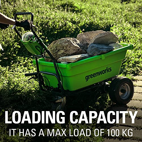 Greenworks Akku wheelbarrow G40GC (Li-Ion 40V 4,2 km/h driving speed 2,4 km/h speed backwards 100kg max. load without battery and charger)