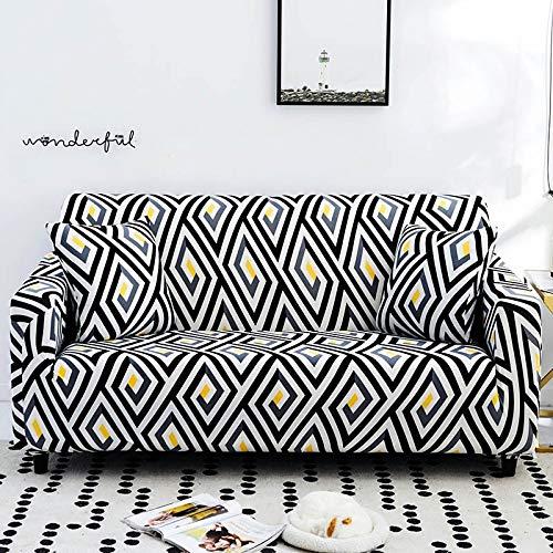 WXQY Fundas geométricas elásticas Fundas de sofá elásticas protección para Mascotas Funda de sofá Esquina en Forma de L Funda de sofá Antideslizante A15 4 plazas
