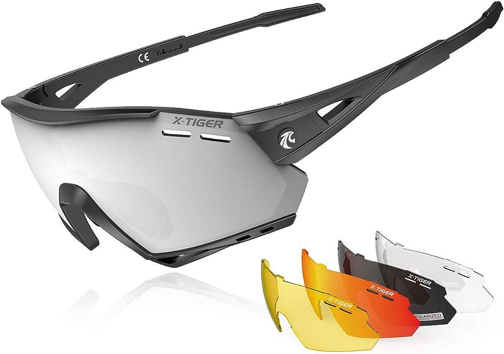 X-tiger occhiali ciclismo ce, polarizzati con 5 lenti intercambiabili, antivento e antiappannamento, da uomo EXS01-5
