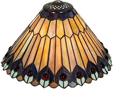 "12"" Wide Tiffany Jeweled Peacock Shade by Meyda Tiffany 26311 in Brown Finish"