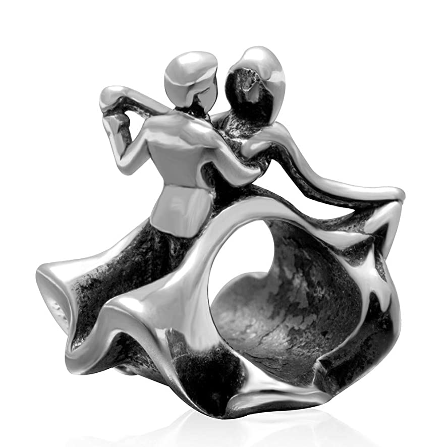 A Couple of Lover Dance Charm Antique 925 Sterling Silver Beads fit Women Charms Bracelets (P)