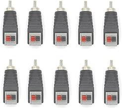 Eightnoo 10Pcs Speaker Phono RCA Male to 2 Screw Terminal Strip Audio Video Spring Press Type Balum Connector Adapter