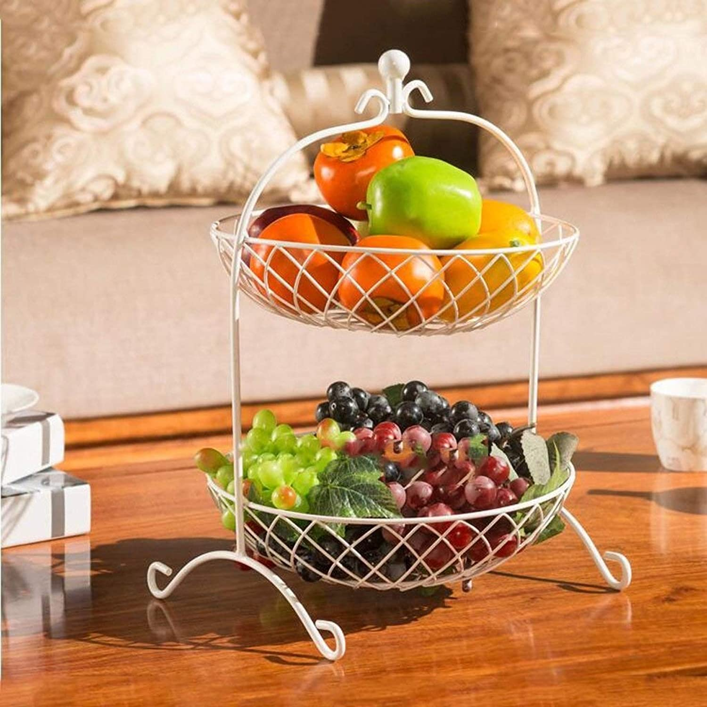 ZSN Panier de fruits de mode créative, assiette de fruits en métal à deux niveaux en métal (Couleur   blanc)