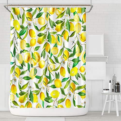 NIBESSER Duschvorhang Obst Anti-Schimmel Wasserdicht Bad Vorhang Waschbar Bad Gardinen Polyester Stoff mit 12 Haken 180x180 cm