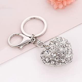 Jzcky Shzrp Heart Shape Crystal Rhinestone Fashion Keychain Keyring Sparkling Key Ring Key Chain Charm Purse Pendant Handbag Bag Decoration Holiday Gift(Silvery)
