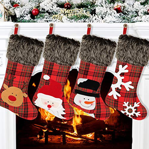 Aitbay Christmas Stockings, 4 Pack 18' Big Xmas Stockings, Burlap Plaid Style with Snowflake Santa Snowman Reindeer and Plush Faux Fur Cuff Family Pack Stockings for Xmas Holiday Party Decor