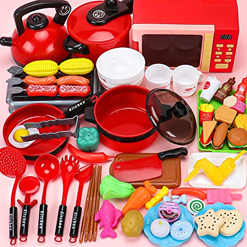 XLNB 62 Piezas de Juguetes de Cocina para niños, Juego de Cocina para Juegos de simulación con Horno microondas de inducción electrónico, Juego de ollas y sartenes para cocinar, Comida de Juguete