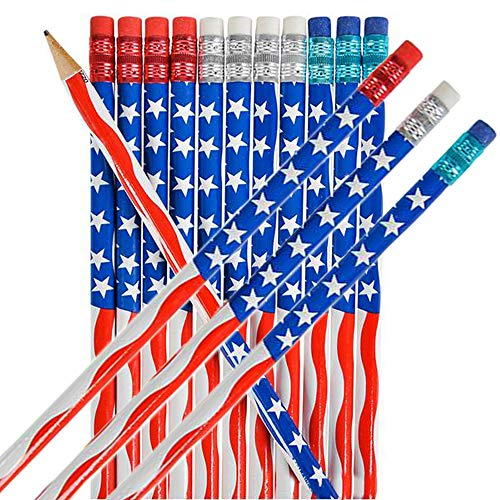 American Flag USA Pencils, Wooden 4th Of July Give Away - 7 1/2' (Pack of 12)