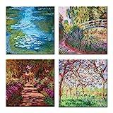LuxHomeDecor Cuadros Claude Monet 4 piezas 30 x 30 cm Impresión sobre lienzo con marco de madera Arte decoración