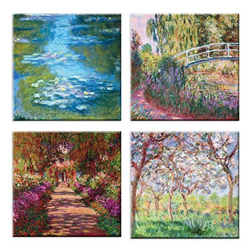 LuxHomeDecor Cuadros Claude Monet 4 unidades 30 x 30 cm Impresion sobre lienzo con marco de madera Arte decorativo