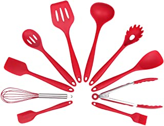 Kitchen Utensil Set, Silicone Heat-Resistant Non-Stick Kitchen Utensil Set Cooking Tools 10 Pieces,Turner, Whisk, Spoon,Brush,spatula, Ladle Slotted turner, Tongs, Pasta Fork and Spoon