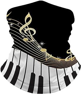 Piano Keyboard Music Note Gold Face Mask Bandana Cooling Nec