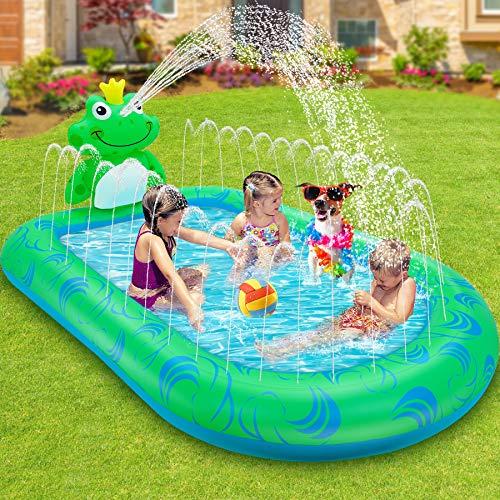 LETOMTY Splash Pool&Pad, Tema Rana Piscina Sprinkler per...
