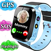Kids Smart Phone Watch for Girls Boys GPS Tracker Smartwatch with Two Way Call Camera Puzzle Game Alarm Clock SOS Vice Chat LED Flashlight 1.44