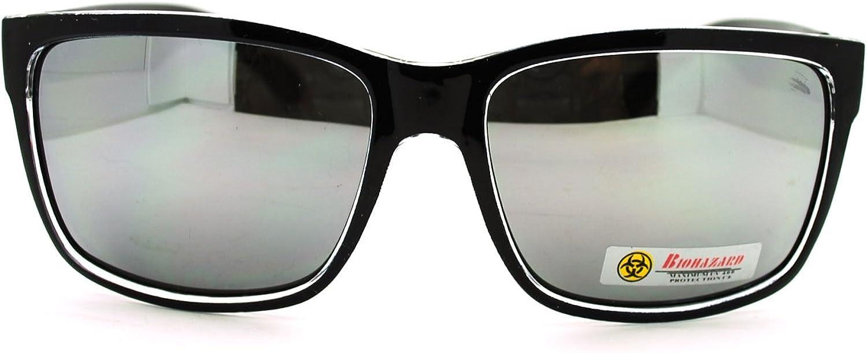 Biohazard Mens Rectangular Sport Horn Rim Mirror Lens Sunglasses Black
