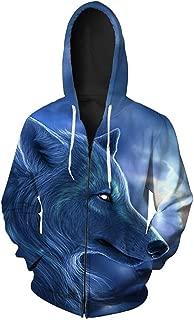 Harajuku Wolf Mens Hoodies 3D 6 Patterns Blue Purple Grey Animal Mens Jacket Hoodie with Zipper