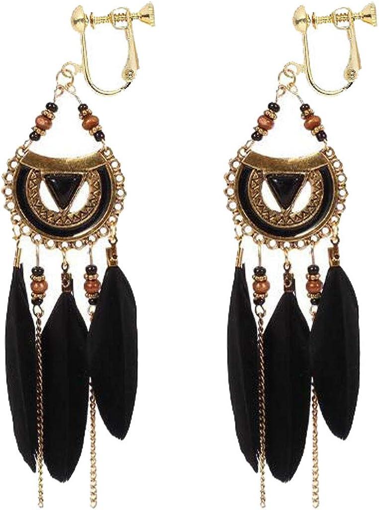 Dream Catcher Clip on Earrings for Women Feather Dangle Long Clavicle Chain Tassel Drop Jewelry
