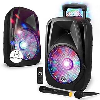 "Enceinte mobile Sono DJ PA Karaoké 600W 12"" LED USB/BT/SD/PC + 2 Micros + Effet MagicBall Friztal rotatif"