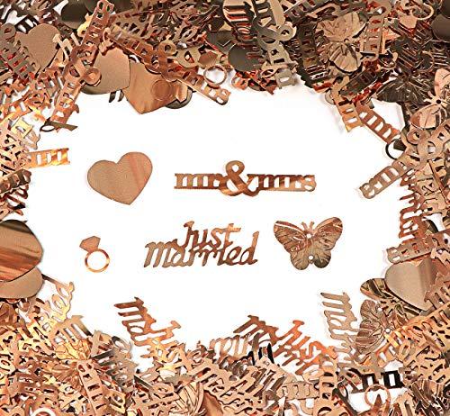 Sweelov Streudeko konfetti Hochzeit Herz Konfetti Tischdeko Just Married Konfetti für Hochzeit Geburtstag Feier Jubiläum Deko Roségold über 1000 STK