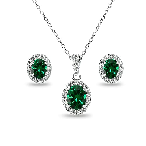 f20aa32a1d8df2 Sterling Silver Genuine, Created or Simulated Gemstones and White Topaz  Oval Halo Necklace and Stud