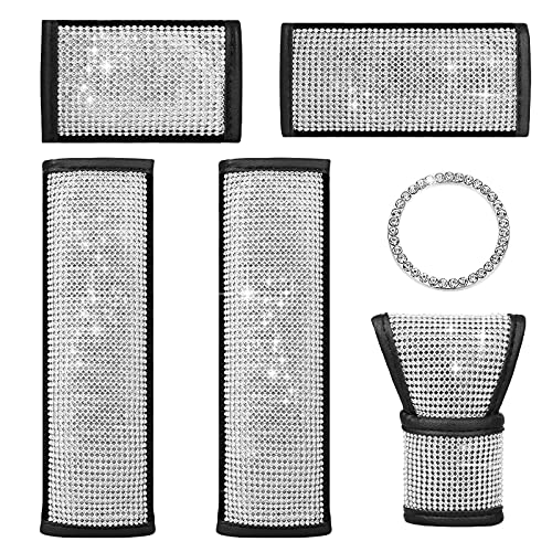 6 in 1 Crystal Bling Leather Car Seat Belt Shoulder Pads, Universal...