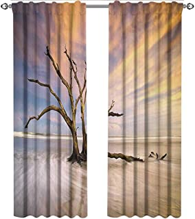 shenglv Driftwood, Curtains Decoration, Seascape Theme Dead Tree Driftwood in The Ocean at Sunset Landscape Print, Curtains Kitchen Window Set, W84 x L96 Inch, Beige and Orange