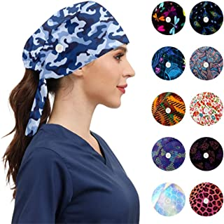 Fashion Working Caps with Buttons Adjustable Sweatband Tie Back Working Hats for Women Men