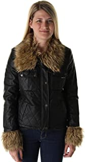 Women's Pleather Faux Fur Trim Quilted Jacket