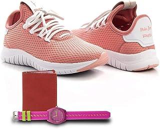 Kit Tênis Têxtil + Carteira e Relógio Feminino Caminhada Rosa Escuro 36