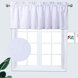 IDEALHOUSE Valances for Windows, Waterproof Waffle Woven Textured Window Valances,Small Valance for Kitchen/Bedroom/Bathroom Windows and More(60