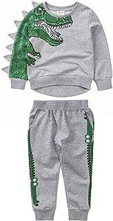 Lixada Boys Dinosaur Tracksuit with 3D Sawtooth Solid Cartoon Animals Sweatshirt and Pants 2 PCS Grey