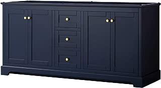 Wyndham Collection Avery 72 Inch Double Bathroom Vanity in Dark Blue, No Countertop, No Sinks, and No Mirror