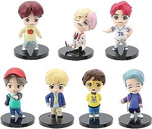 7PCS BTS Mini Idol Doll Deluxe Topper Figure Play Set BTS Premium Cake Topper Action Figures - Toys Car Interior Decoration BTS Party Supplier