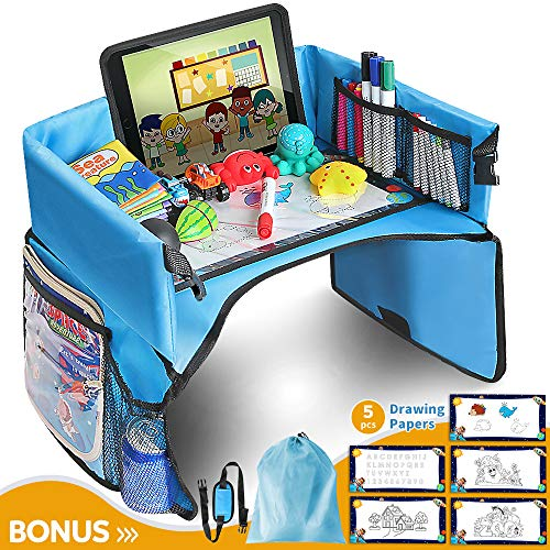 Kids Travel Tray with Erasable Top, Toddlers Car Seat Tray Organizer with Tablet Cup iPad Holder, Waterproof Food & Snack Lap Tray, Lap Desk for Strollers, Air Travel and High Chair (Light Blue) …