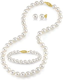 Freshwater Cultured Pearl Necklace Set for Women Includes Bracelet and Stud Earrings with 14K Gold - THE PEARL SOURCE