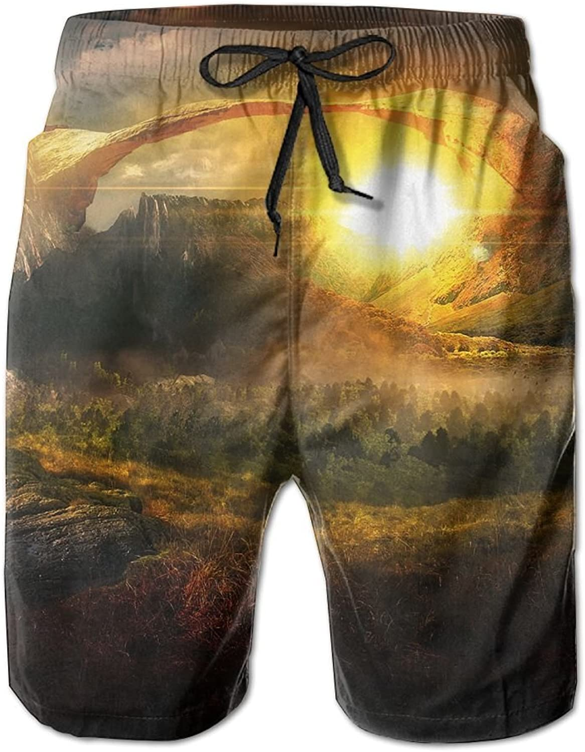 e6cdb44927 Quick Quick Quick Dry Men's Beach Board Shorts Mountain Forest Painting  Surfing Swim Trunks Beachwear With Pockets 6a9eb6
