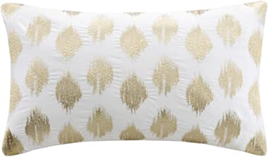 Ink+Ivy Nadia Dot Metallic Gold Embroidery Oblong Pillow Gold 12x18