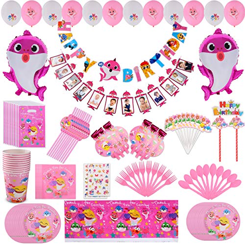 Pink Baby Shark Party Supplies