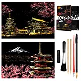 Scratch Painting Kits for Adults & Kids, Craft Art Set, Rainbow Scratch Painting Paper, Sketch Pad DIY Night View Scratchboard, 16'' x 11.2''Creative Gift-with 6 Special Tools kit(Mount Fuji / Sakura)