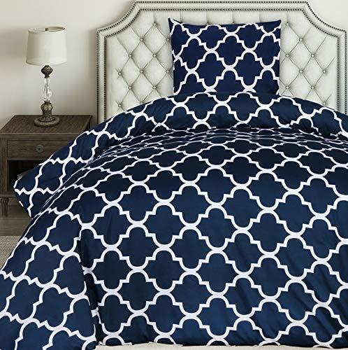 Utopia Bedding Bettwäsche-Set - Mikrofaser Bettbezug 135x200 cm und 1 Kopfkissenbezug 80x80 cm - Marineblau Bettbezüge Set mit Reißverschluss - Gittermuster