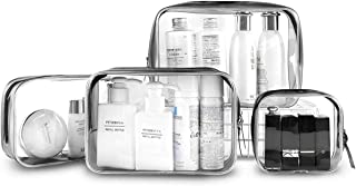 CharmCollection 4-in-1 Clear Travel Toiletry Bags, Transparent Zippered Cosmetic Carry Pouch, PVC Waterproof Makeup Case, Travel Luggage Shower Wash Brushes Organizer for Women Men Kids (S, M, L, XL)