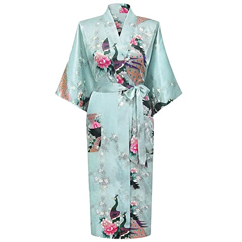 6a2a85c103 HonourSport Women s Peacock Kimono Long bathrobes Dressing Gown Japanese Robe  Dress Ladies Silk
