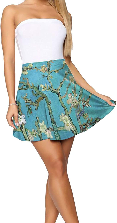 RHRFOL Almond Blossom Women's Basic Versatile Stretchy Flared Casual Mini Skater Skirt
