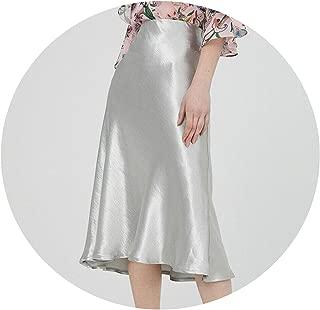 NamJun Eleghant Faldas Lisas de Talle Alto para Mujer, Faldas Formales de Fiesta con una línea de Columpio, Faldas para Mujer, Color Liso, Faldas de Media Pantorrilla