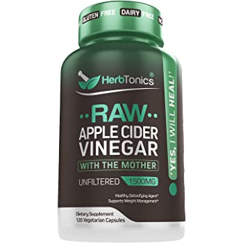 High Strength Raw Apple Cider Vinegar Capsules with Mother 1500mg Detox Support - Appetite Suppressant Keto Diet for Fat Burner Weight Loss Supplement (Packaging May Vary)