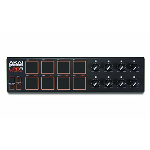 Akai Professional LPD8 | Ultra-Portable USB Drum Pad MIDI Controller for Laptops (8