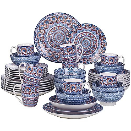 Vancasso Kombiservice Porzellan, Mandala 40 teiliges Essgeschirr Tafelservice, handbemaltes Geschirrset für 8 Personen, böhmischer Stil